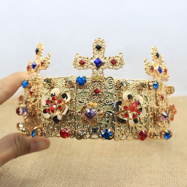 2015 new Baroque cross Crown Jewel exaggerated headband bridal hair accessories in Europe D061(China (Mainland))