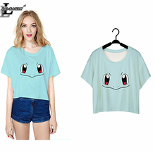 2016 Squirtle Pokemon Costume Punk Harajuku T shirt Women Short Sleeve  Crop Top Blusa Summer O-neck T-shirts F963