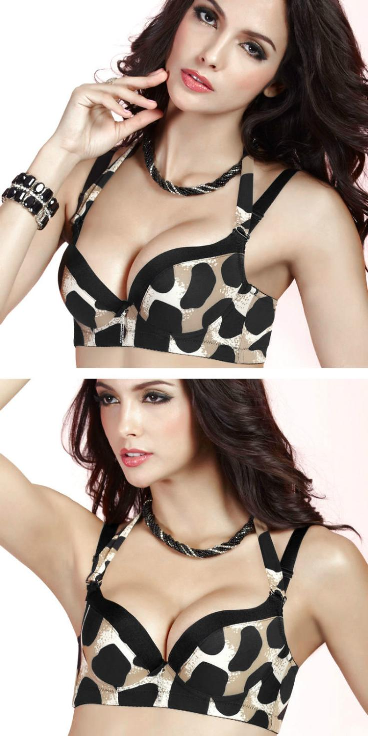 Fashion Sexy Leopard Push Up Side Support Plunge Detachable Halter Gel Padded Bra Free Shipping(China (Mainland))