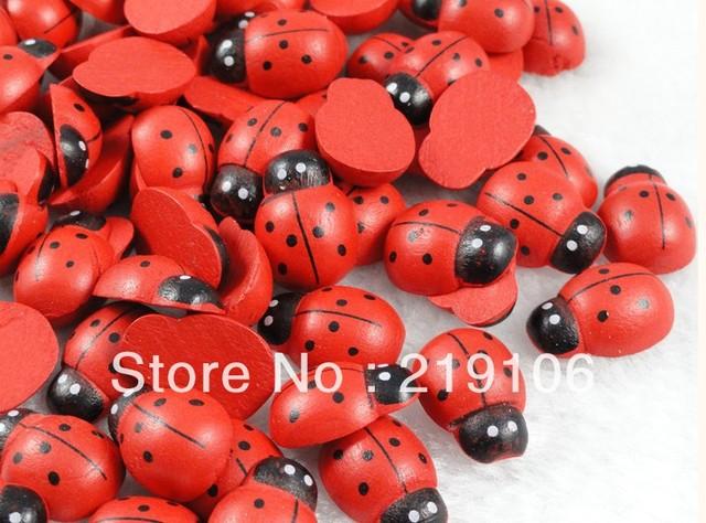 Wholesale 200PCS Red wood Flatback Ladybug Button/bow/hot/ Appplique