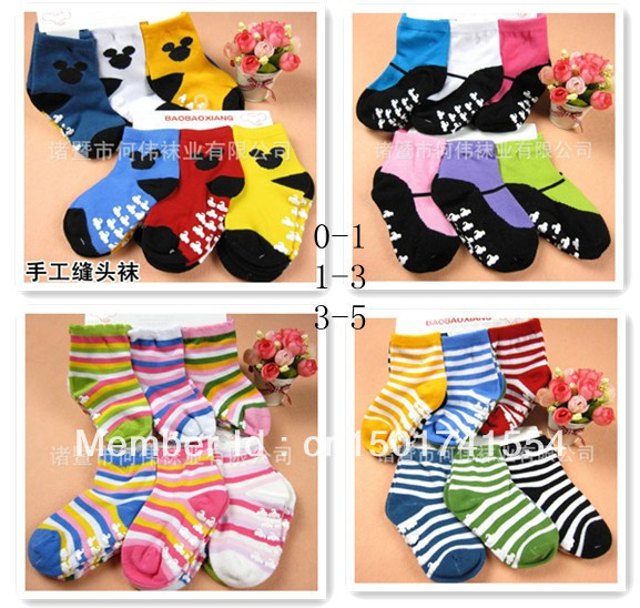 free shpping New arrival hot-selling 100% cotton 4 style children socks slip-resistant small kid's socks baby floor socks