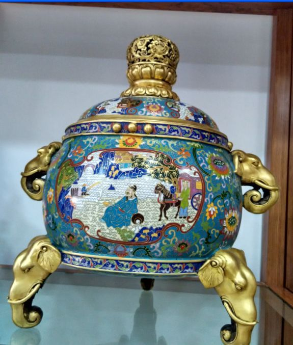 China's gold-plated copper cloisonne mythical figure elephant incense burner(China (Mainland))