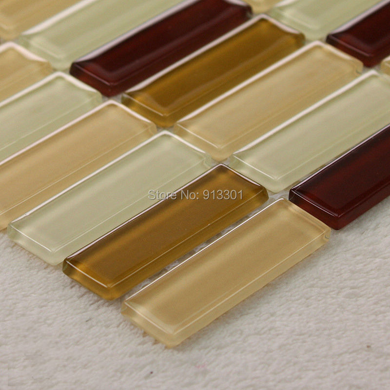 Brown Glass Mosaic Tiles Mirror Sheets Kitchen Wall Tile Backsplash Hgt165 Strip Crystal Glass
