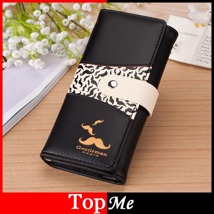Brand Women Wallets Mustache Pattern Lady Handbags Coin Purse Hasp Moneybags Cards ID Holder Long Woman Clutch Wallet Burse Bags<br><br>Aliexpress