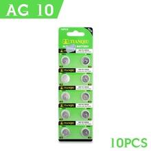 10 Pcs/lot 1.55V AG10 LR54 LR1130 L1131 389 189 Alkaline Batteries Button Cell Coin