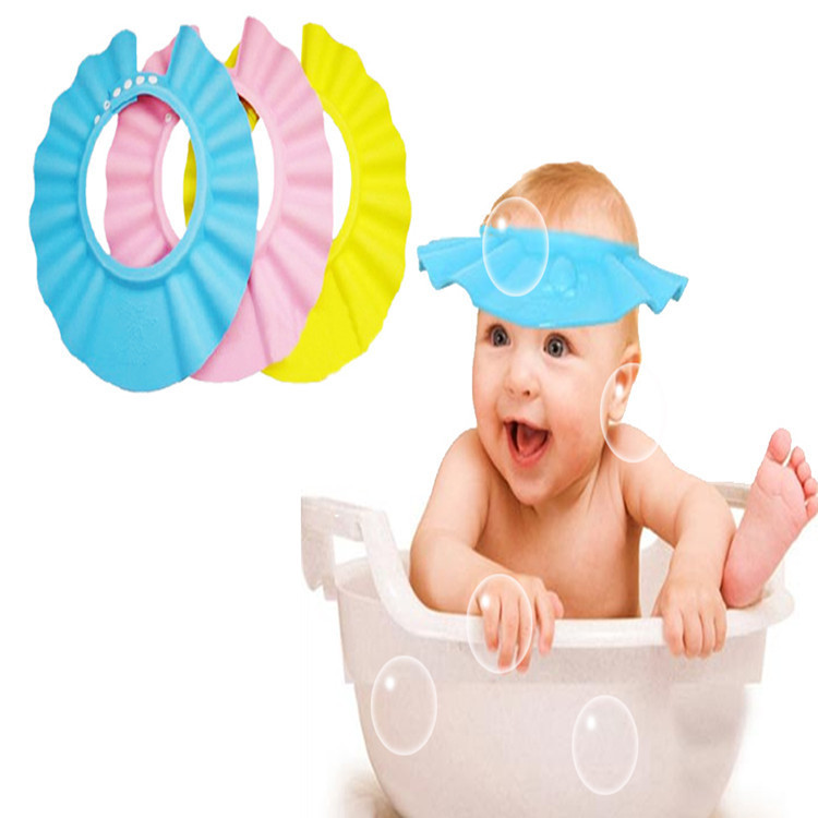 2015 Hot Adjustable EVA Soft Baby Shampoo Shower Cap Baby Care Bath Protection For Kid #YE01022