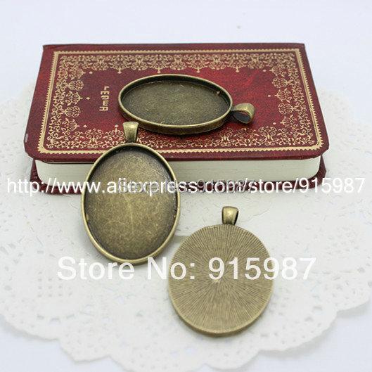 10pcs/lot Vintage Bronze Oval Cabochon Base Pendant Blanks Setting 30*40mm Jewelry Blanks Pendant Charms(China (Mainland))