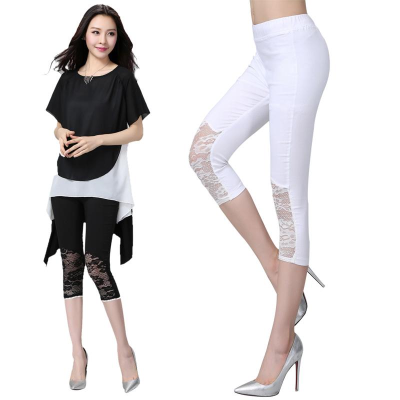 Summer Fashion Women Legging Pants Plus Size 5XL Formal Ladies Capris Pencil Pants Lace ...