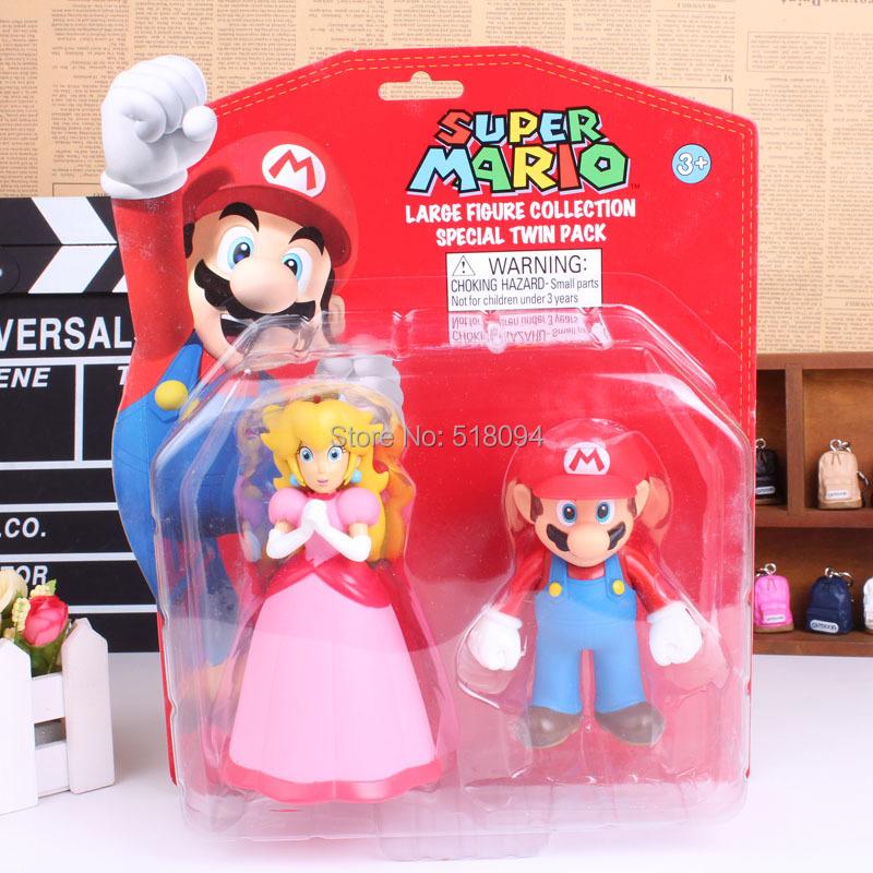 Super Mario Bros Princess Peach & Mario PVC Figures Collectible Toys Dolls 2pcs/set SMFG241(China (Mainland))
