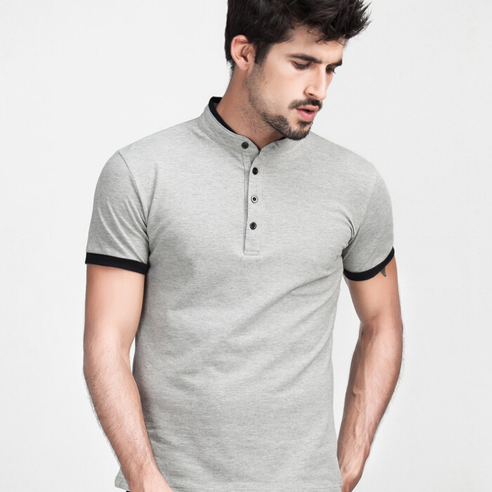 Solid Polo Shirt Summer Style Stand Collar England Style