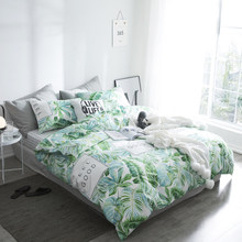 2018 Summer Cotton Green Leaf Bedding Sets Queen Single,2-3PCS Duvet Cover Set, 4PCS Set For Duvet cover Bed Sheet Pillowcase(China)
