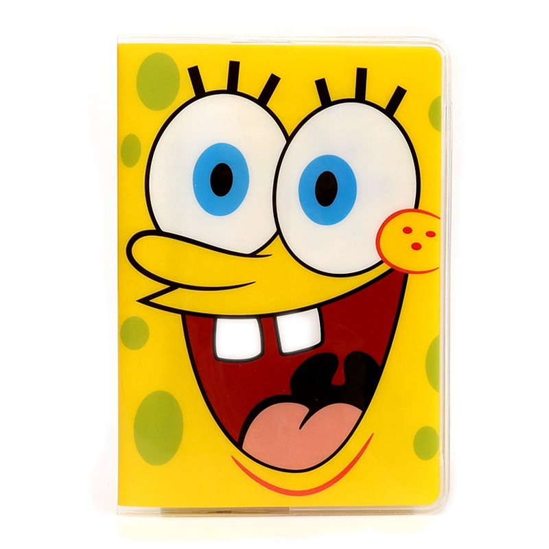 Hot Sale Fashion 3D Passport Cover Holder Cartoon Sponge Bob PVC Travel Passport Holder Case Card ID Holders 14*9.6cm(China (Mainland))