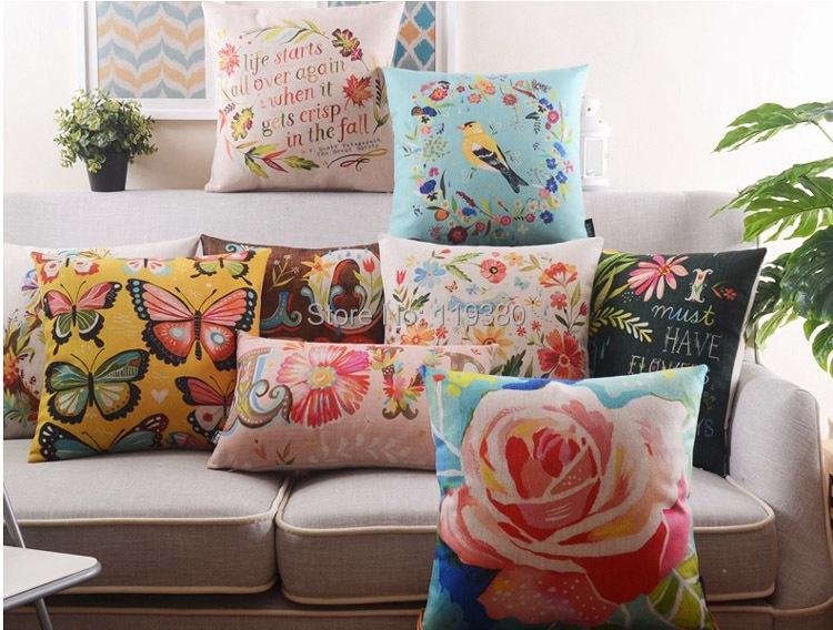 """18 """" pássaros e flores de algodão de linho capa de almofada Ikea Pastoral sofá cadeira carro casa decorativo jogar travesseiro fronha almofadas"""