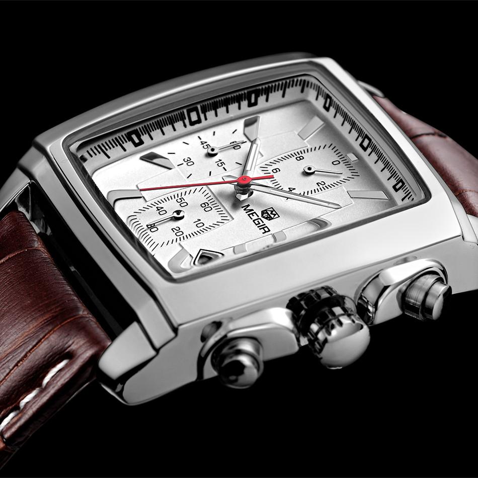 Mens Watches Top Brand Luxury MEGIR Men Military Sport Luminous Wristwatch Chronograph Leather Quartz Watch relogio masculino(China (Mainland))
