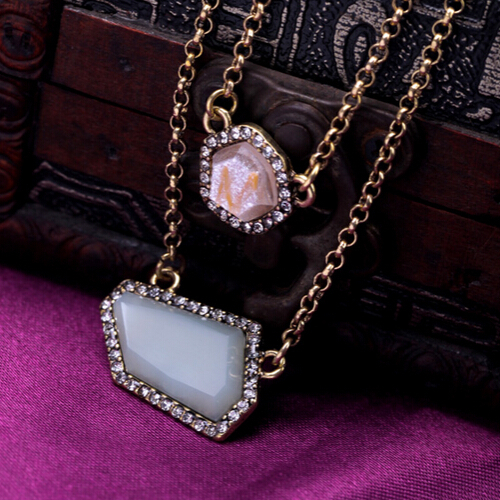 New Arrival Fashion Brief Geometric Double Layer Pendant Necklace Charm Jewelry Party Gift Factory Wholesale(China (Mainland))