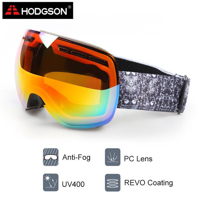 Ходжсон 1006 мужчины женщины анти-туман лыжные очки ветрозащитный сноуборд очки с сферической линзы лыжи спортивные очки