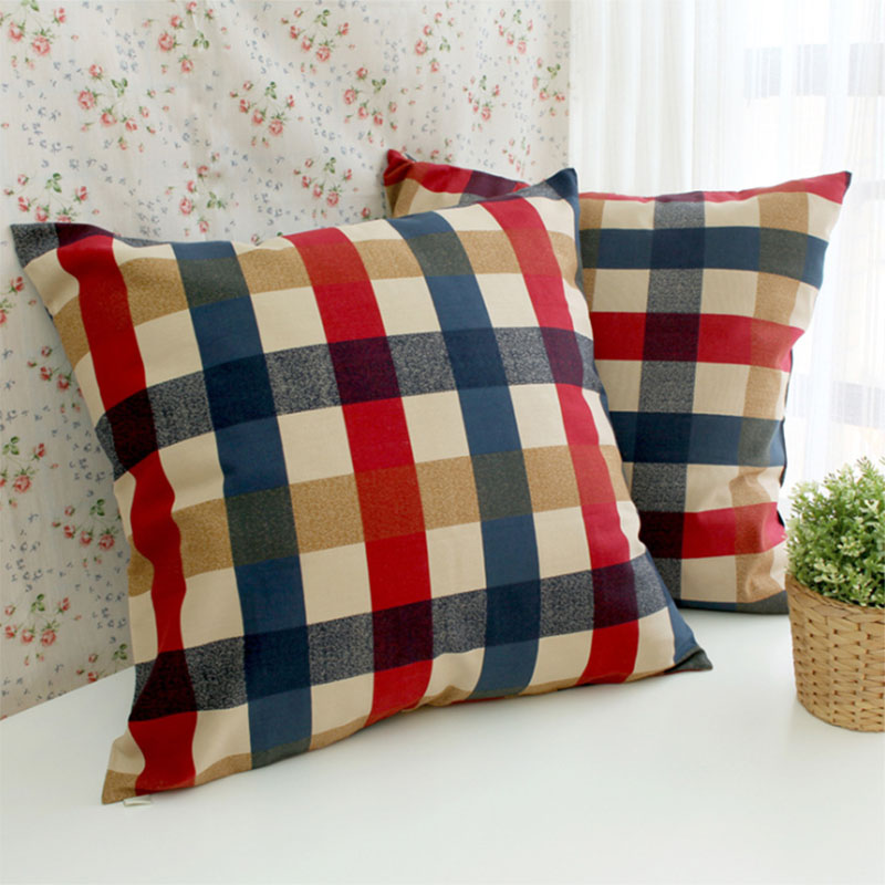45*45cm/60*60cm High quality blue&red plaid cotton cushion covers funda cojin sofa throw pillow covers home decorative(China (Mainland))
