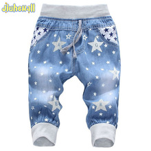 2017 Hot Sale Boy Girl Summer Denim Jeans Children Comfortable Pants Baby Elastic Waist Jeans Pants Cartoon Printing CY142(China (Mainland))
