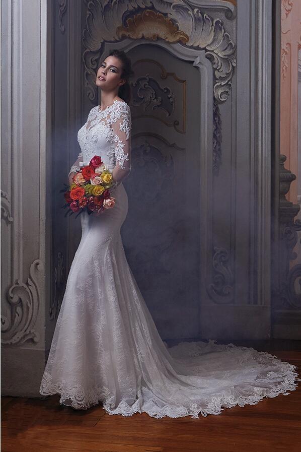 Сексуальная открыть назад русалка свадебное платье Vestido Novia кружева свадебные платья мантия де свадебная дешевые свадебные платья 2015 быстрая доставка