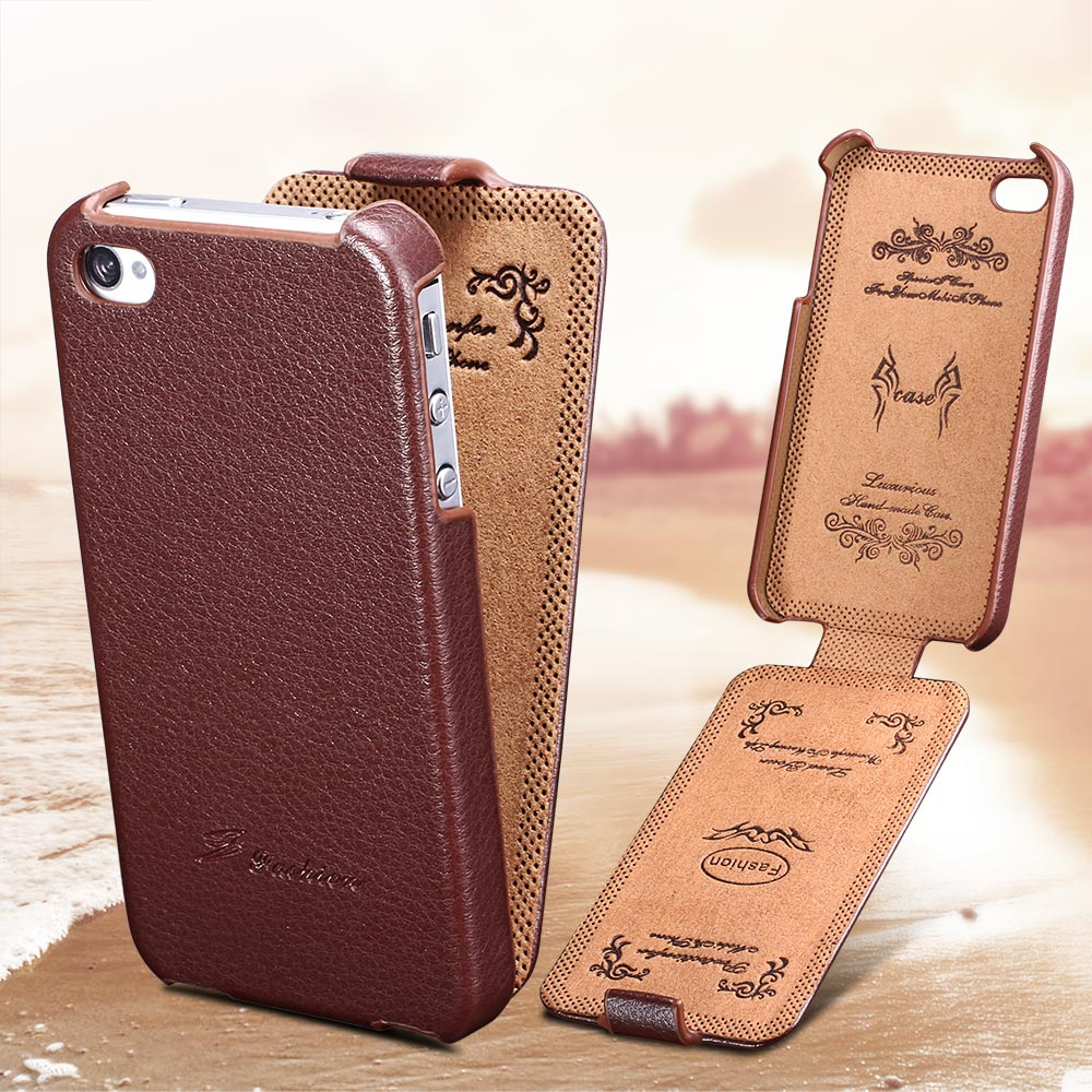 Leather Flip Case iPhone 4 4S 4G Cover Vintage Phone bag Apple Original FASHION Brand Ultra Thin Design - artisome Official Store store