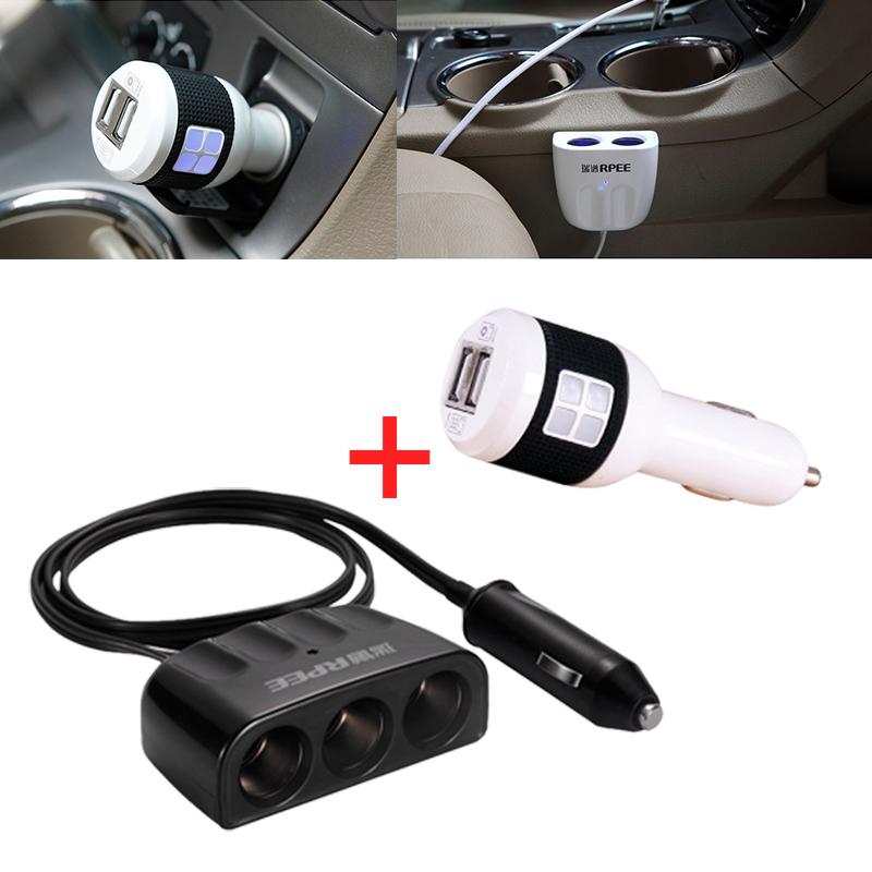 Car Charger Usb Dual Chargers 12V Battery Motorcycle 2A Cargador 2.1A 220V Inverter Adapter Cigarette Lighter Socket Splitter(China (Mainland))