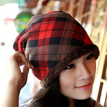 Winter Casual Beanie Cap Fashion Women Cotton Blend Tartan Plaid Fur Beanie Knitted Headgear Hats Caps