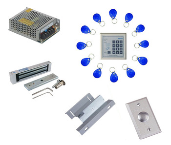 Free ship by DHL,access control kit ,keypad EM access control+power+180kg magnetic lock+ZL bracket+button+10 em card,sn:em-007