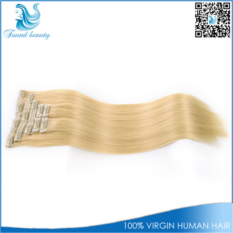 Brazilian Clip In Hair Extensions Blonde Clip In Human Hair Extensions Clip In Human Hair Extensions Double Lace Wefted(China (Mainland))