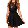 Summer Elegant Women Casual Solid Sleeveless Slim Lace Mini Dress Hollow Out Lace Black Dress