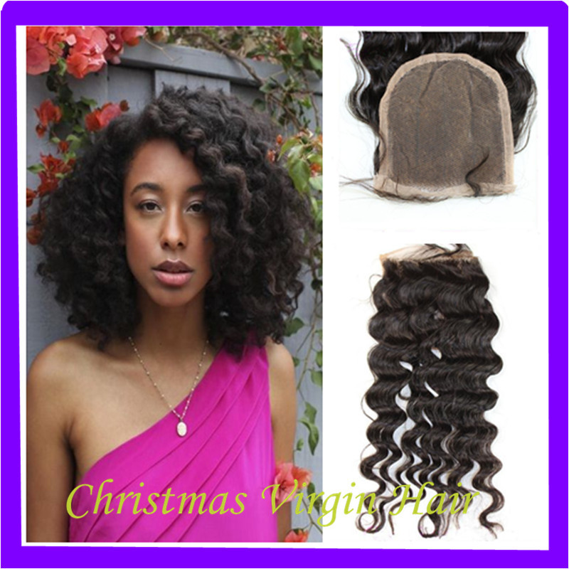 Qhp Queen Hair Three Way 3 Part Peruvian Lace Closure Deep Wave (Left/Right/Middle Part) For Light/Black Skin American African(China (Mainland))