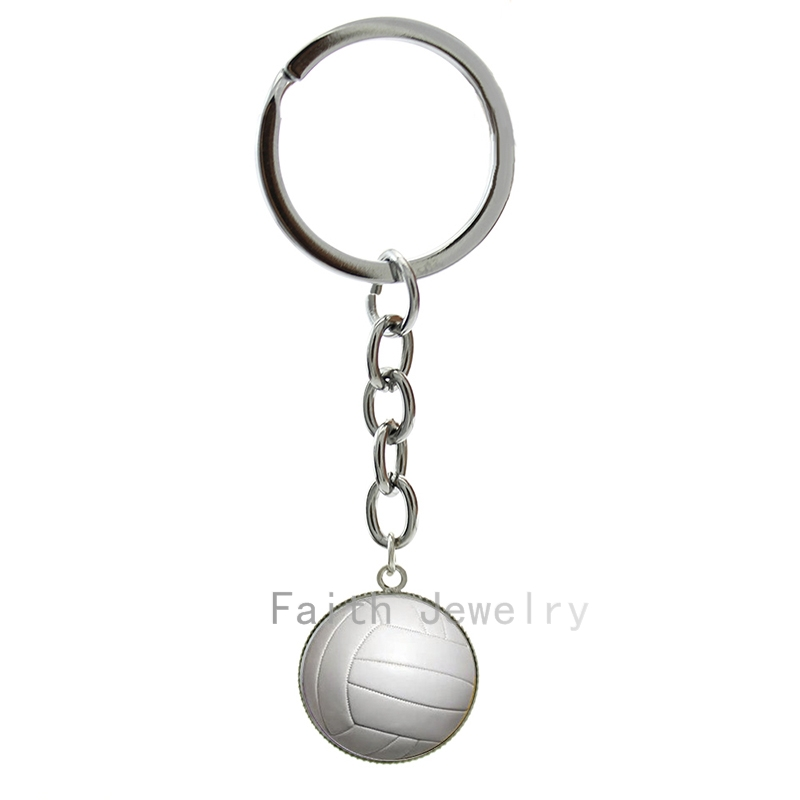 Fashion pure white Volleyball photo key chains charm casual sports beach volleyball keychain ball fans jewelry hobby gift 1379(China (Mainland))