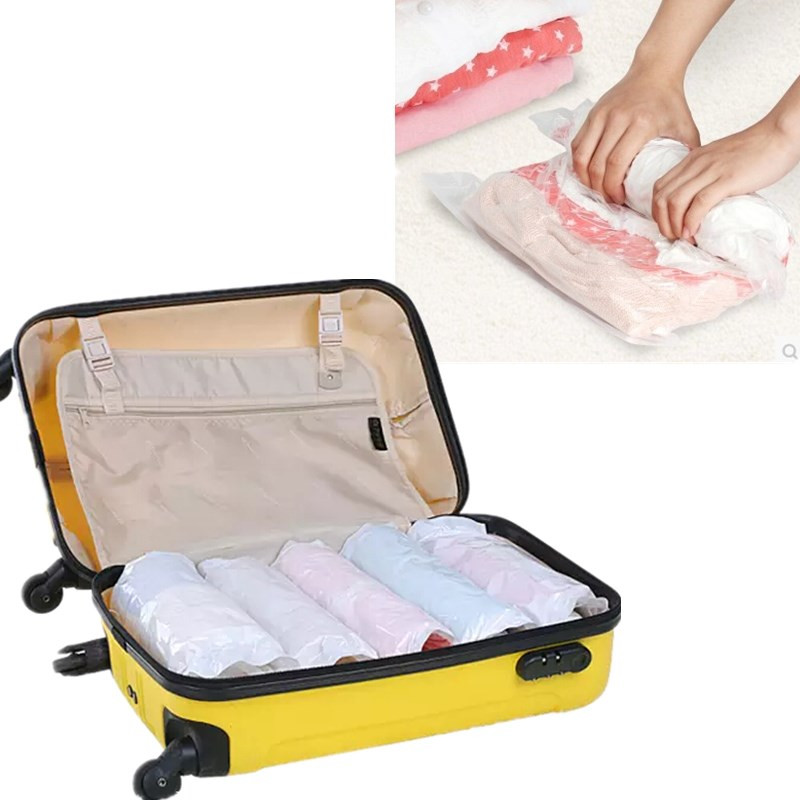 10pcs Roll-up Compression Vacuum Clothes Storage Bag Camp Travel Home Laundry Luggage Package Space Save Rolling Bags(China (Mainland))