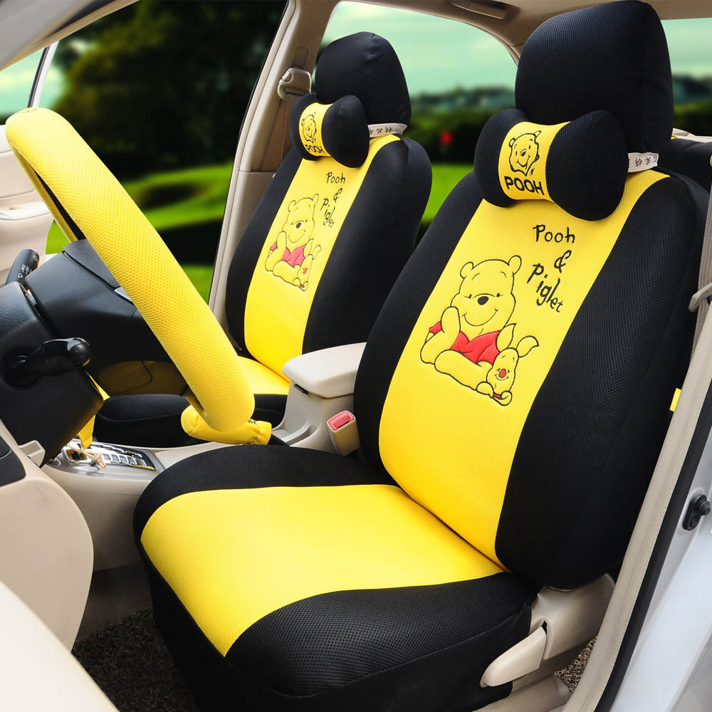 Cartoon Pooh Car Seat Covers 18pcs Ice Silk Car Steering