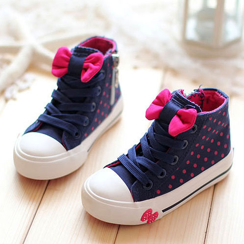 2016 Hot-selling Spring Autumn Bowtie Children Shoes Girls High-top Lace Canvas Bowknot Kids Sneakers - Smalltao Paradise store