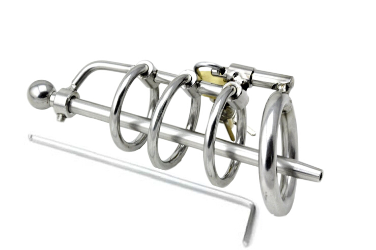New! 3 Ring Stainless Steel Male Chastity Device/Belt with Catheter,Cock Cage,Penis Ring,Penis Lock,Adult Game,Cock Ring A061