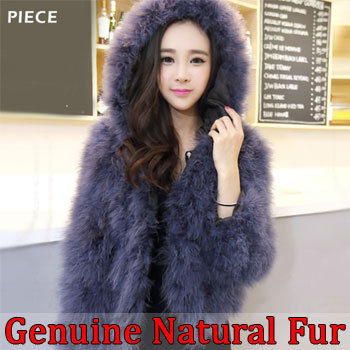 winter ostrich fur hooded jacket women short paragraph thickening genuine natural coat - Chris's Fashion Store store