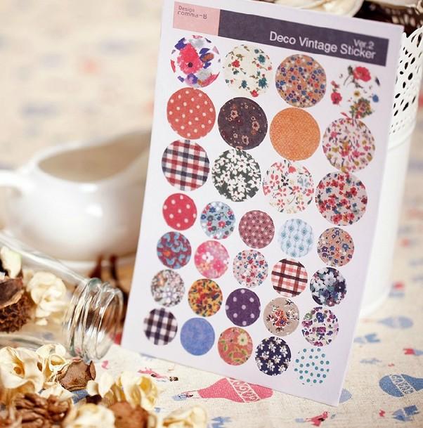 Original single vintage sticker pastoral floral imitation cloth sticker child DIY toy 6sheets/set(China (Mainland))