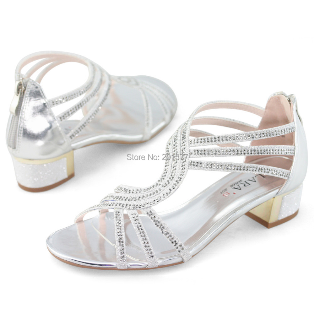 Silver Evening Sandals Low Heel - Is Heel