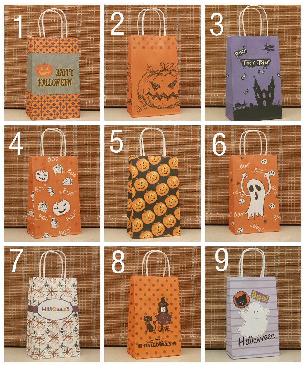 Halloween paper bag Wholesale 9 colors Kraft paper bag,Festival / Halloween gift bag size 21*13*8cm 100piece\lot(China (Mainland))