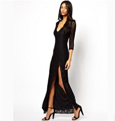 Fall Summer Autumn 2014 Women Ladies Fashion Sexy Lined Long Lace Evening Dress gowns vintage elegant body Prom vestido de festaОдежда и ак�е��уары<br><br><br>Aliexpress