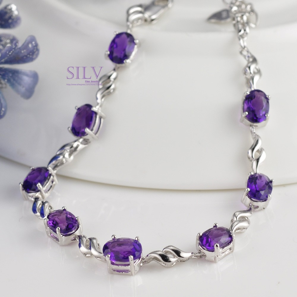 100% sterling silver jewelry, amethyst bracelet, female silver bracelet Twinkling Star, Christmas gift, free shipping! 0134(China (Mainland))