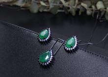 Wassertropfen Schmuck Sets Für Frauen Schöne Türkisen Verkrustete Ohrringe und anhänger halskette der partei Modeschmuck Für Weibliche(China)