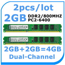 Wholesale 2pcs/lot brand DDR2 800Mhz 2GBX2PCS 4GB PC-6400 memory for desktop RAM In Stock