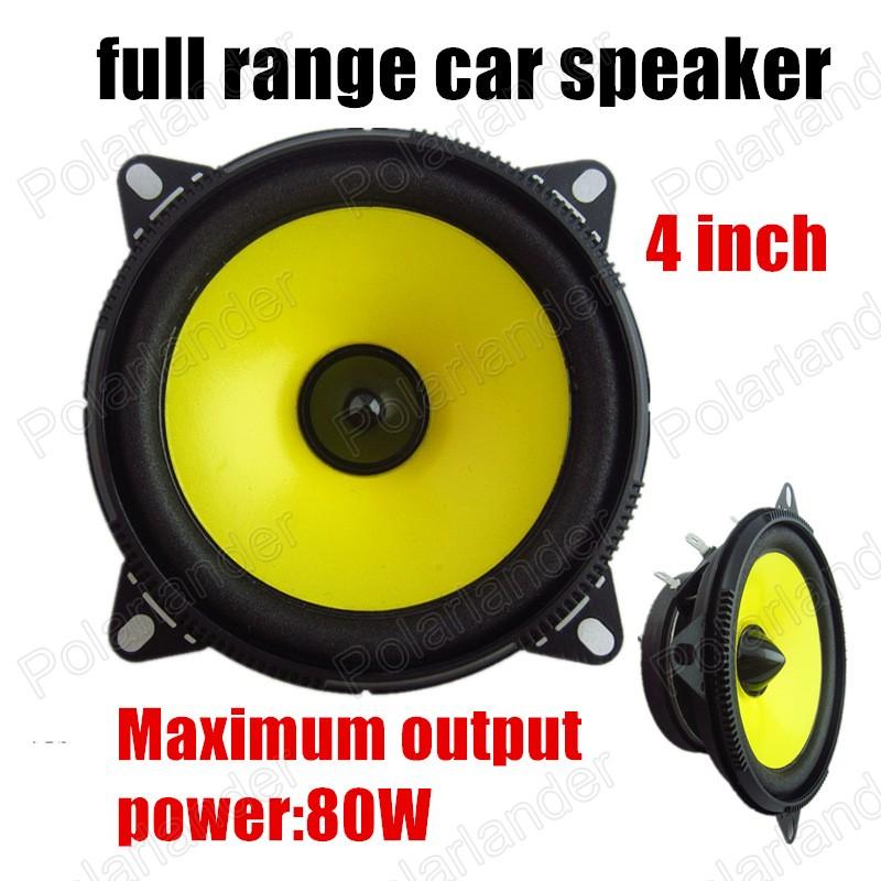 Great sound high quality 2x80W for all cars audio stereo speaker yellow 4 inch car speaker car horn full range speaker(China (Mainland))