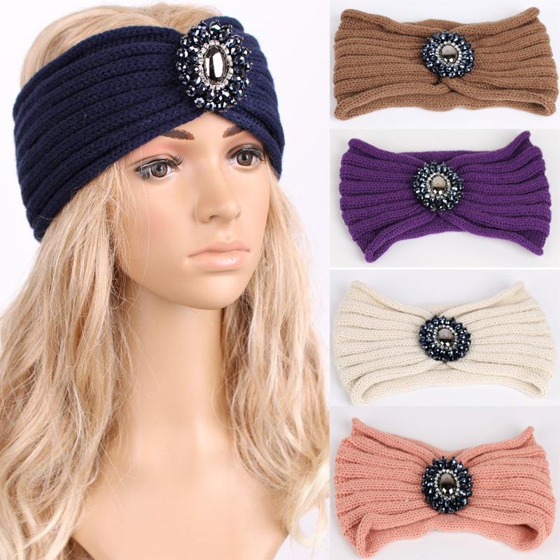 New Fashion Ladies Jewel wool Accessory Winter Warm Floral stretch Turban Soft Knit Headband Beanie Crochet Headwrap Women(China (Mainland))