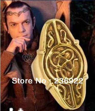 (can mix size)New free shipping Wholesale 20pcs/lot gold charm Lord of the rings elf king Elrond Gold Ring Men Jewelry Hot<br><br>Aliexpress