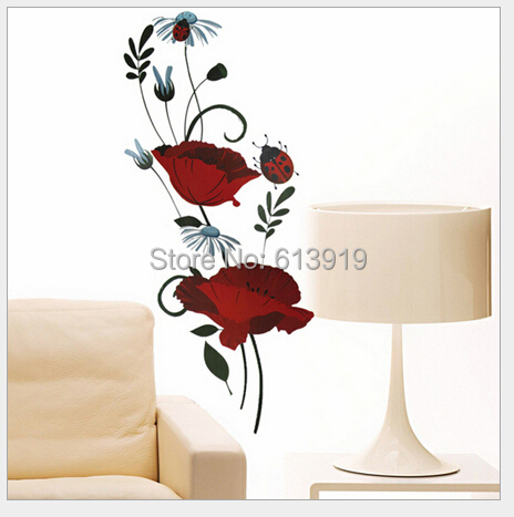 Free Express Removable flowers Kids Room Wall Stickers Sitting Sofa Background Decoration Largest size 60*90cm - DIY Sky store