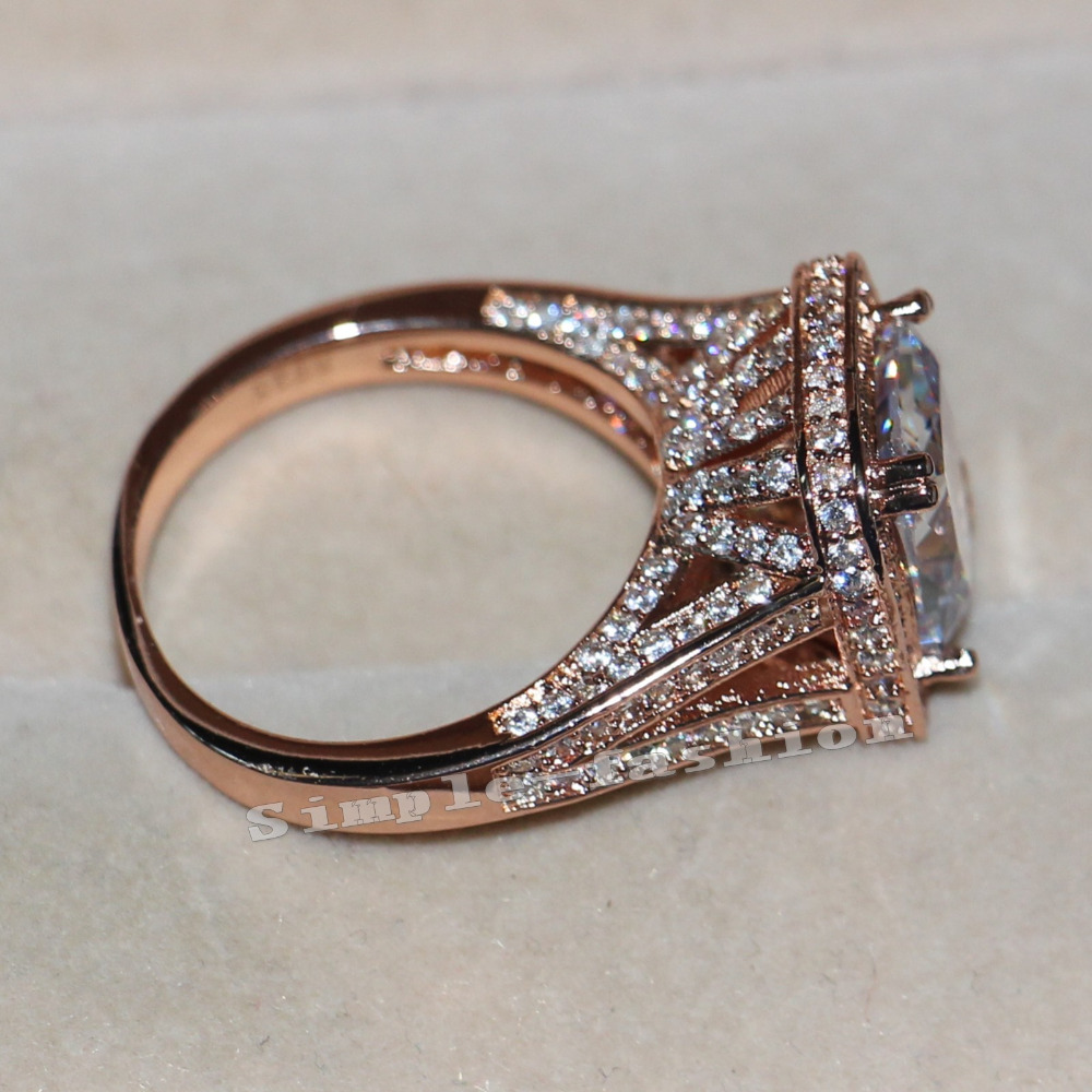 Fashion Jewelry Rose Gold 925 Sterling silver ring cushion cut 10Ct AAAAA zircon cz Engagement Wedding Band Ring for women(China (Mainland))