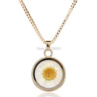 Trendy Yellow Flower Pendant Necklace Glass Concave Shape Silver Plated Statement Chain Necklace Jewelry For Women