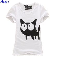 [Magic] 2014 hot sale ! Lovely cats Fashion Good Quality Cotton T Shirt Women Tops Short-sleeve t shirts white and black free